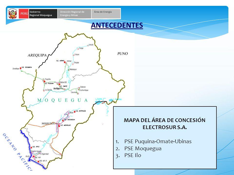 MAPA DEL ÁREA DE CONCESIÓN ELECTROSUR S.A.