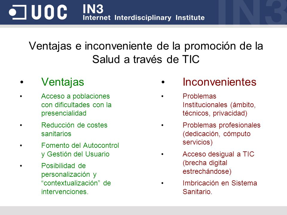 Ventajas e inconveniente de la promoción de la Salud a través de TIC