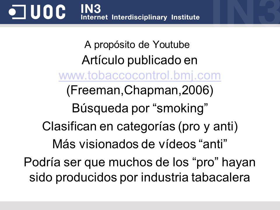 Búsqueda por smoking Clasifican en categorías (pro y anti)