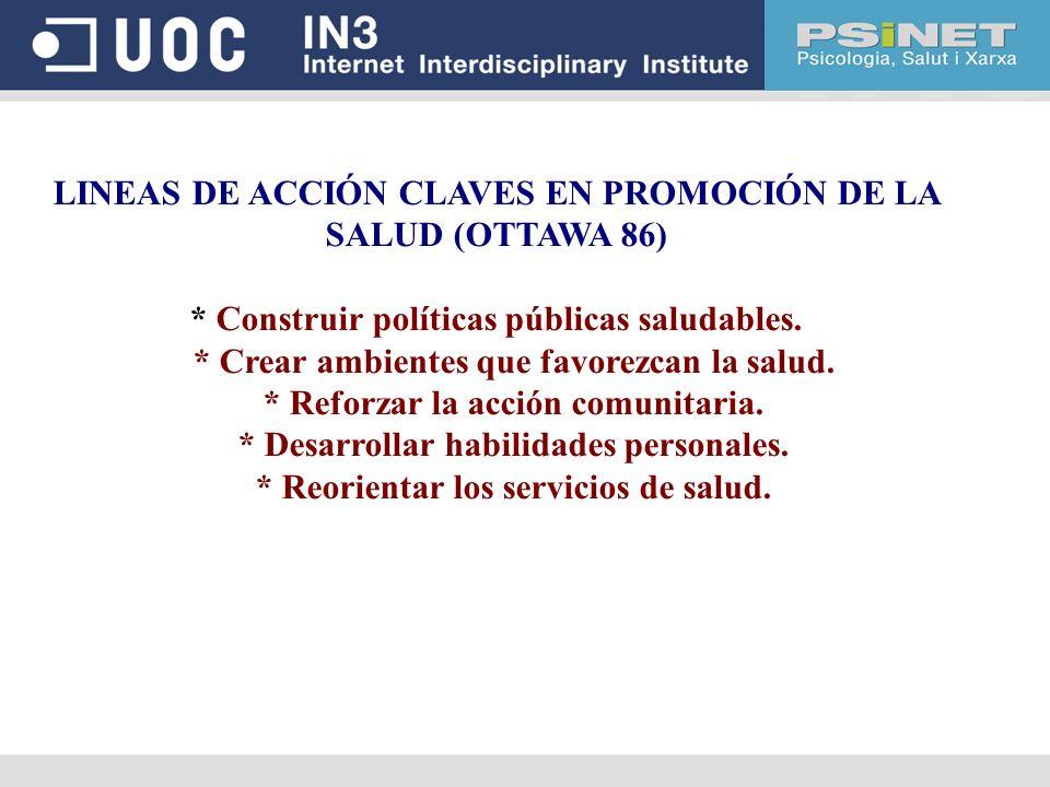 LINEAS DE ACCIÓN CLAVES EN PROMOCIÓN DE LA SALUD (OTTAWA 86)