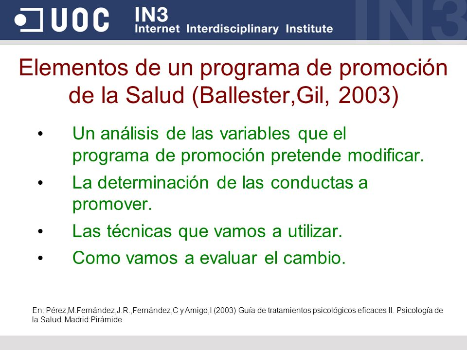 Elementos de un programa de promoción de la Salud (Ballester,Gil, 2003)
