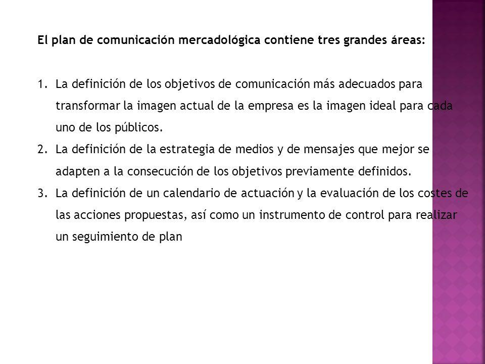 El plan de comunicación mercadológica contiene tres grandes áreas: