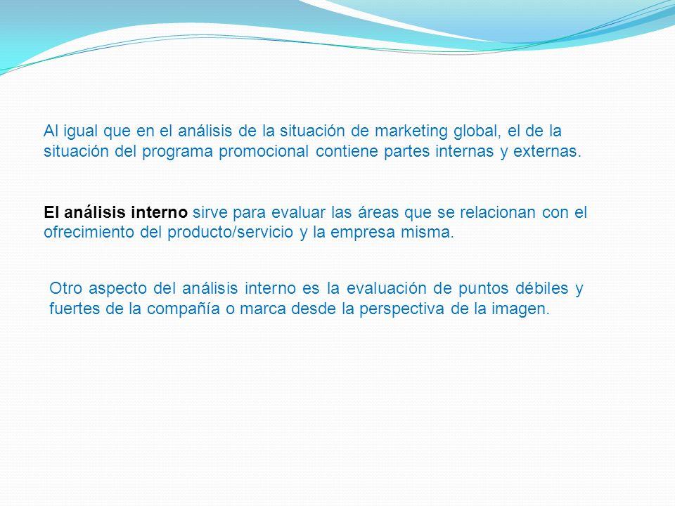 Al igual que en el análisis de la situación de marketing global, el de la situación del programa promocional contiene partes internas y externas.