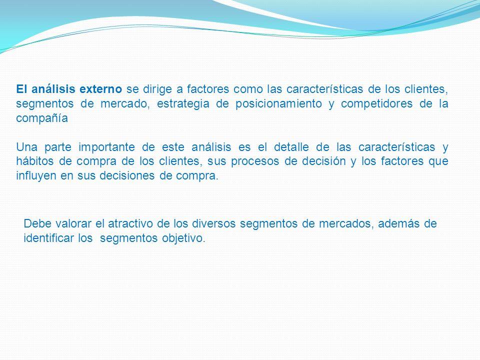 El análisis externo se dirige a factores como las características de los clientes, segmentos de mercado, estrategia de posicionamiento y competidores de la compañía