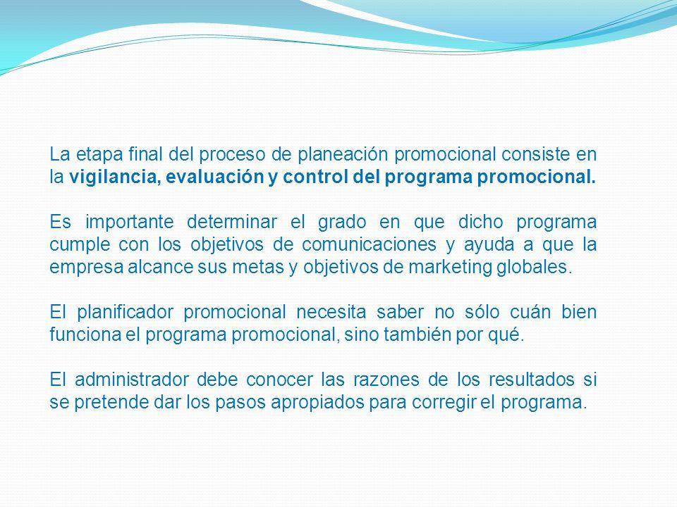 La etapa final del proceso de planeación promocional consiste en la vigilancia, evaluación y control del programa promocional.
