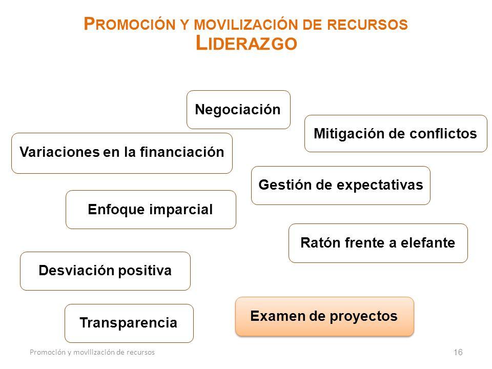 Liderazgo Promoción y movilización de recursos Negociación