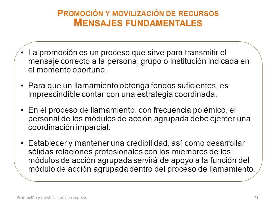 Promoción y movilización de recursos Mensajes fundamentales