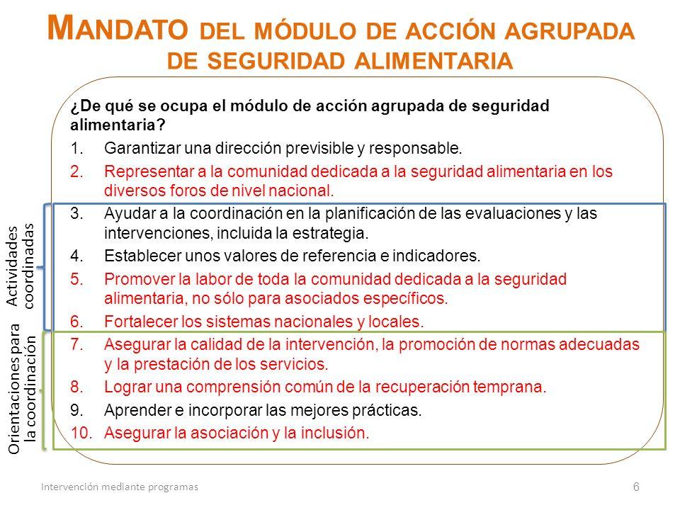 Mandato del módulo de acción agrupada de seguridad alimentaria