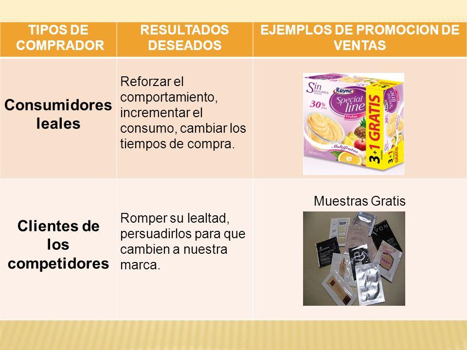 EJEMPLOS DE PROMOCION DE VENTAS Clientes de los competidores
