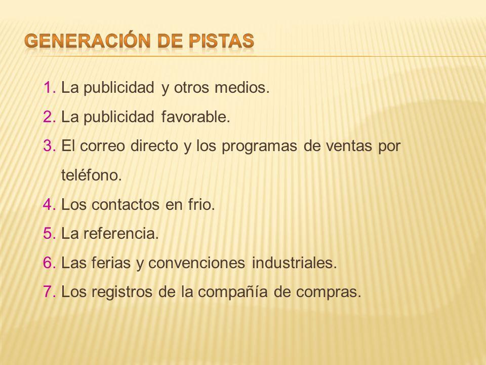 GENERACIÓN DE PISTAS La publicidad y otros medios.