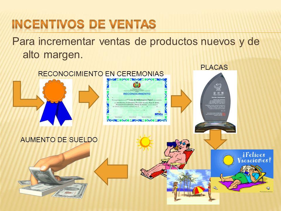 INCENTIVOS DE VENTAS Para incrementar ventas de productos nuevos y de alto margen. PLACAS. RECONOCIMIENTO EN CEREMONIAS.