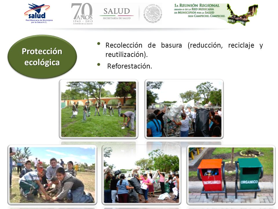 Protección ecológica Recolección de basura (reducción, reciclaje y reutilización). Reforestación.