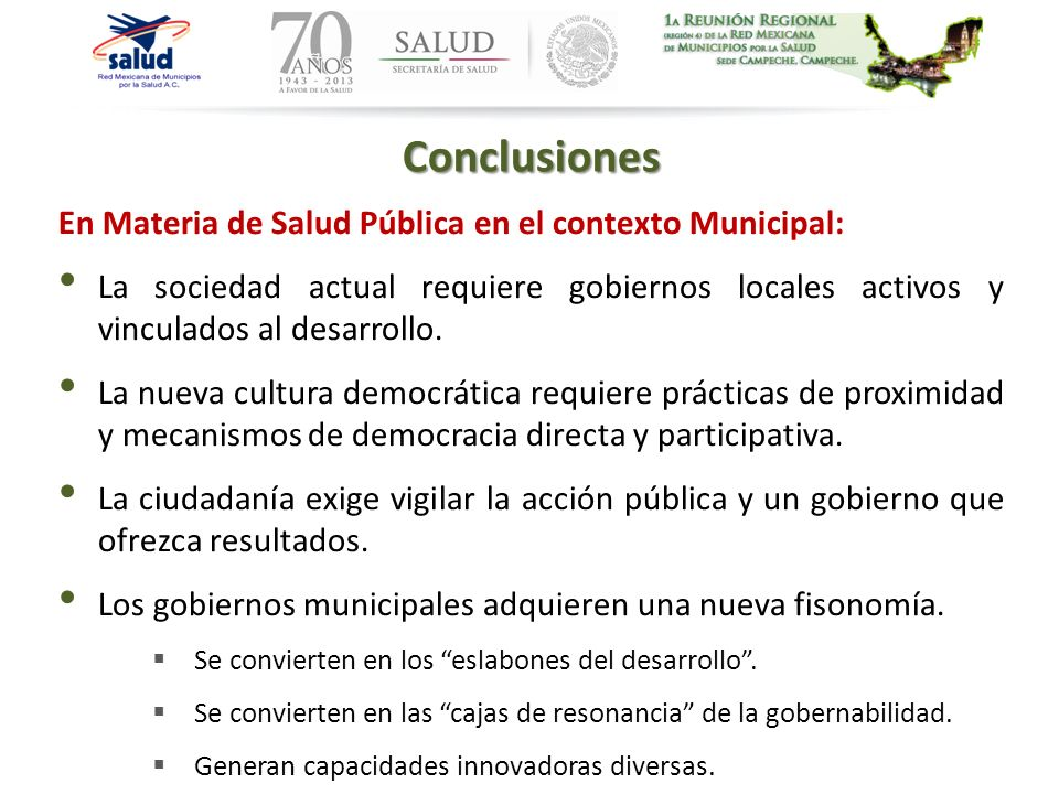 Conclusiones En Materia de Salud Pública en el contexto Municipal: