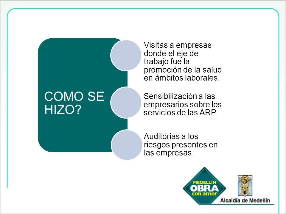COMO SE HIZO Visitas a empresas donde el eje de trabajo fue la promoción de la salud en ámbitos laborales.