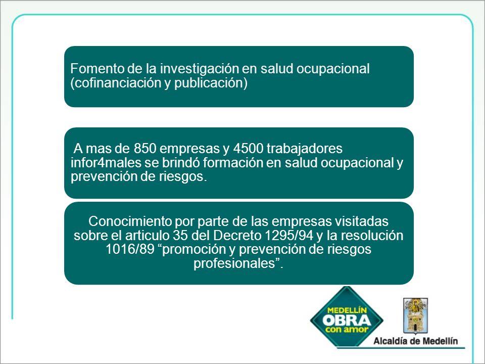 Fomento de la investigación en salud ocupacional (cofinanciación y publicación)