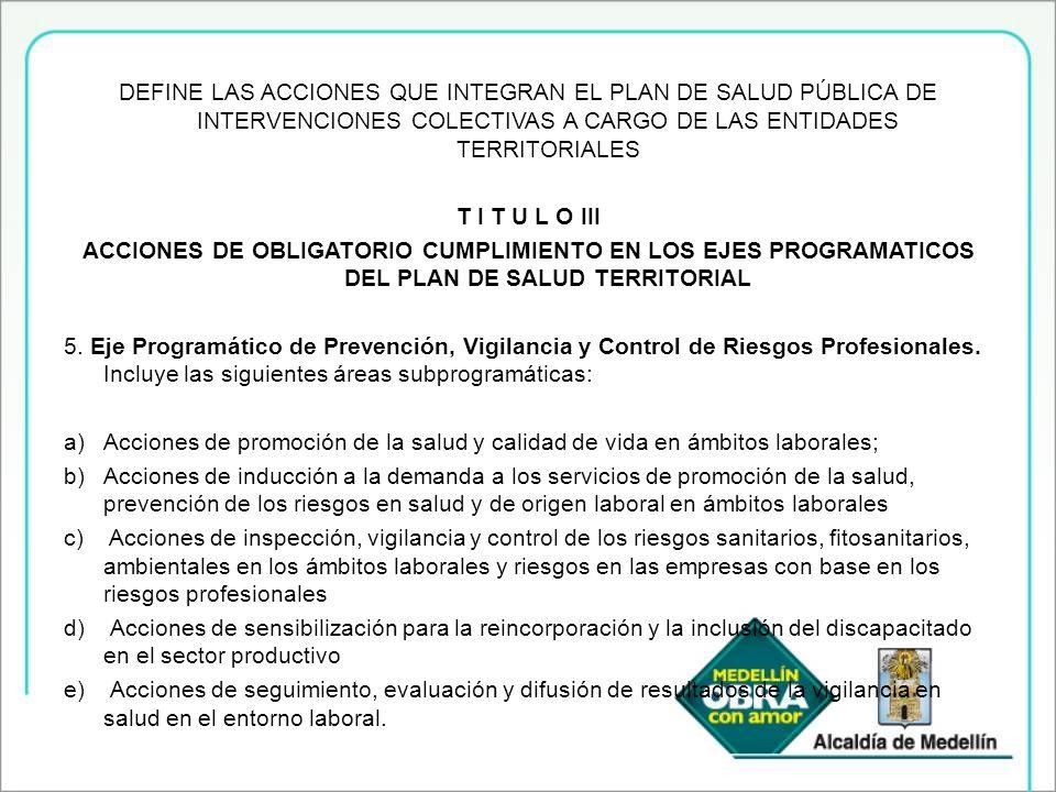 DEFINE LAS ACCIONES QUE INTEGRAN EL PLAN DE SALUD PÚBLICA DE INTERVENCIONES COLECTIVAS A CARGO DE LAS ENTIDADES TERRITORIALES