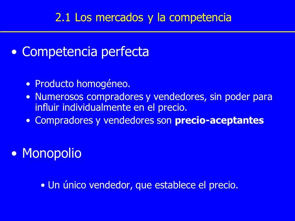 Competencia perfecta Monopolio 2.1 Los mercados y la competencia