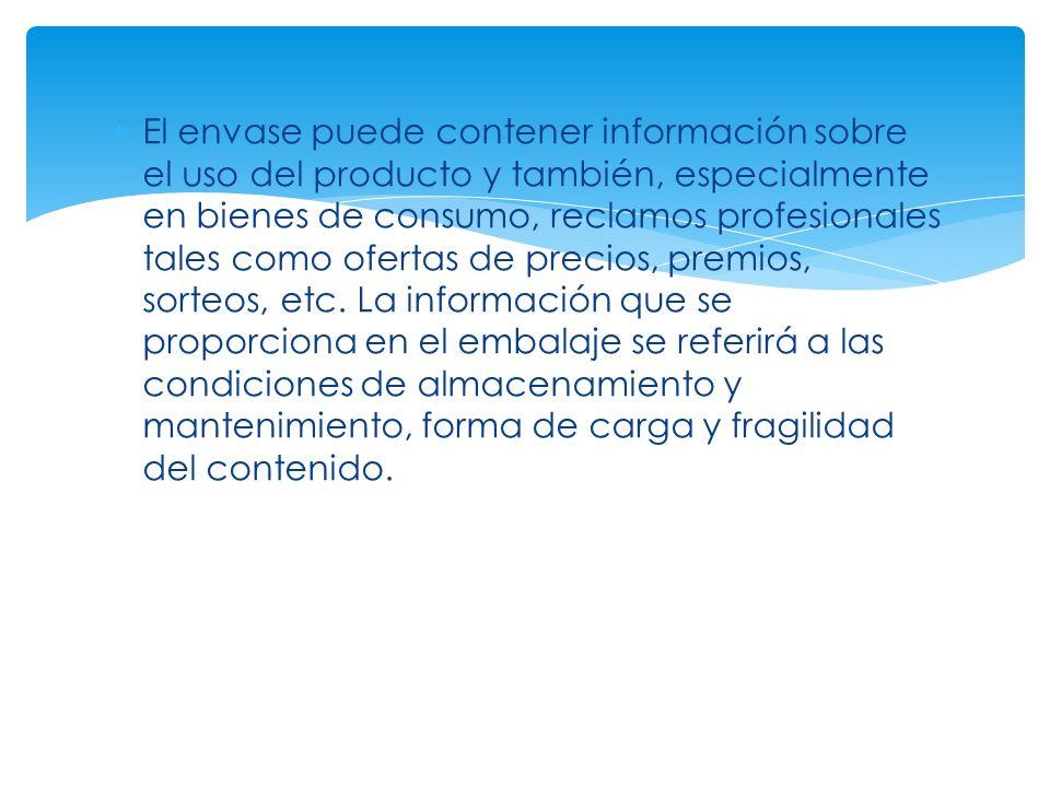 El envase puede contener información sobre el uso del producto y también, especialmente en bienes de consumo, reclamos profesionales tales como ofertas de precios, premios, sorteos, etc.