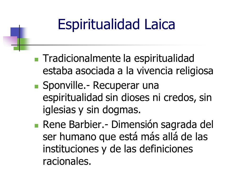 Espiritualidad Laica Tradicionalmente la espiritualidad estaba asociada a la vivencia religiosa.