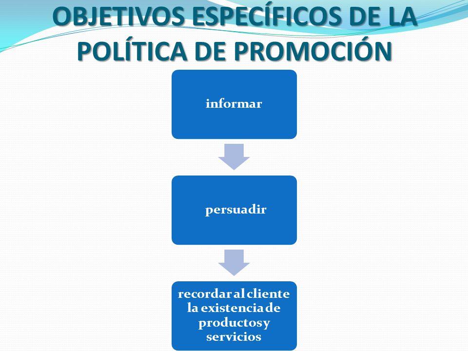 OBJETIVOS ESPECÍFICOS DE LA POLÍTICA DE PROMOCIÓN