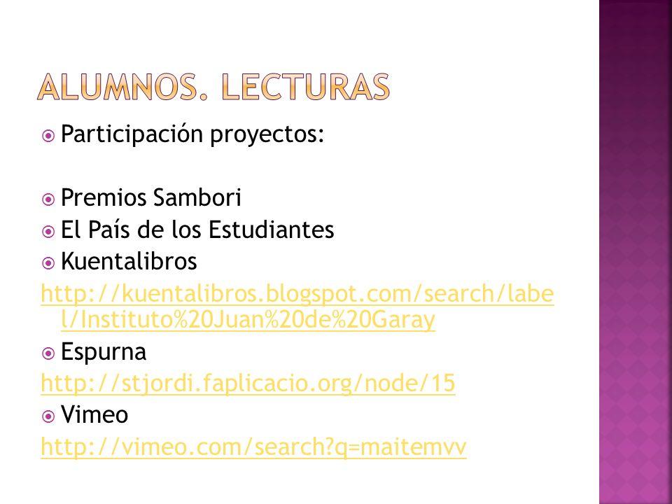 Alumnos. lecturas Participación proyectos: Premios Sambori