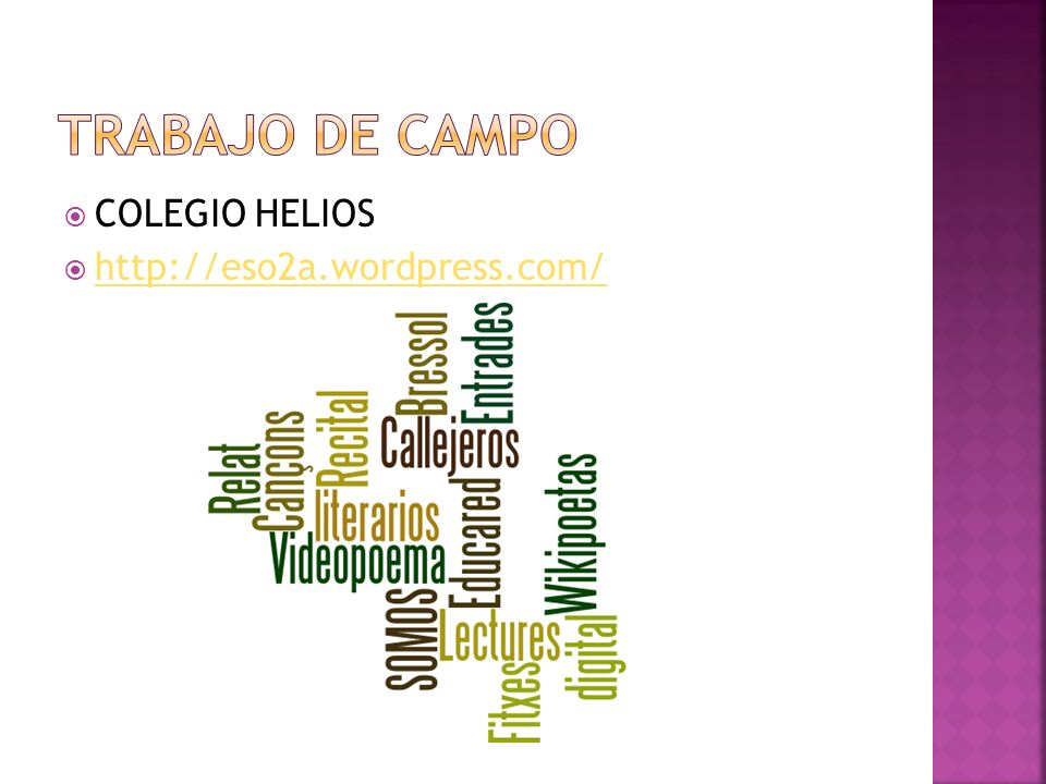 Trabajo de campo COLEGIO HELIOS http://eso2a.wordpress.com/
