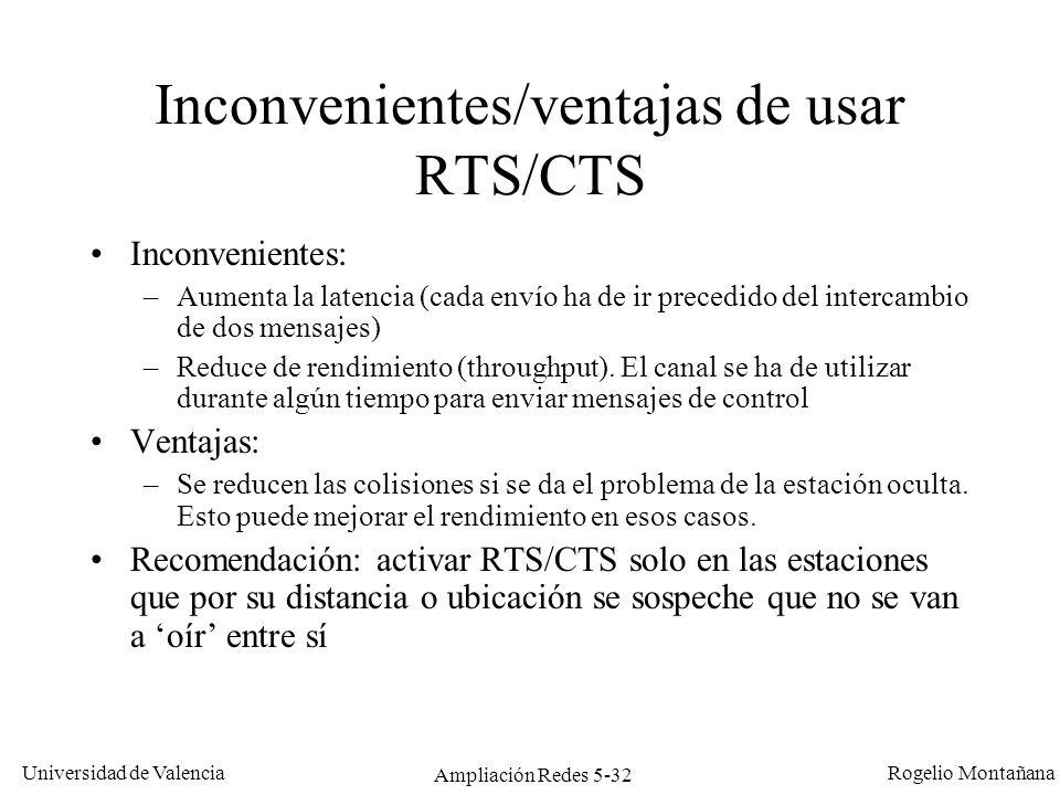 Inconvenientes/ventajas de usar RTS/CTS