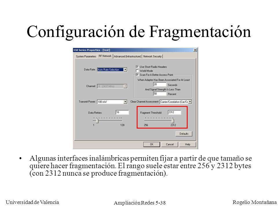 Configuración de Fragmentación