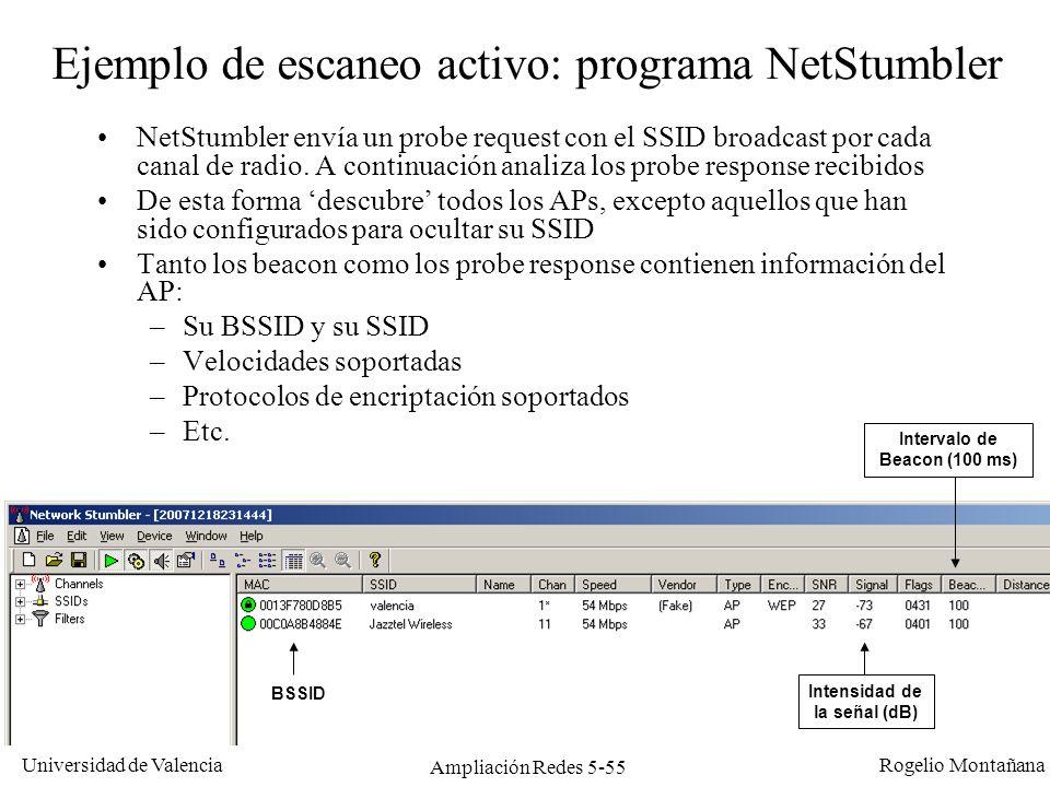 Ejemplo de escaneo activo: programa NetStumbler