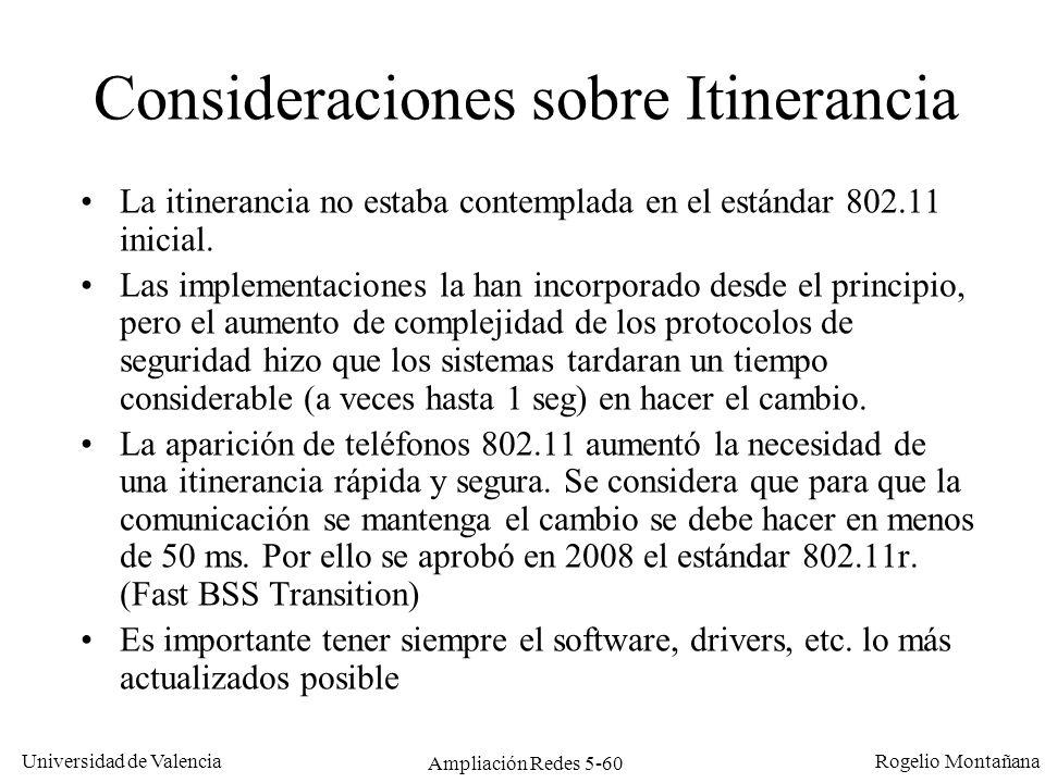 Consideraciones sobre Itinerancia