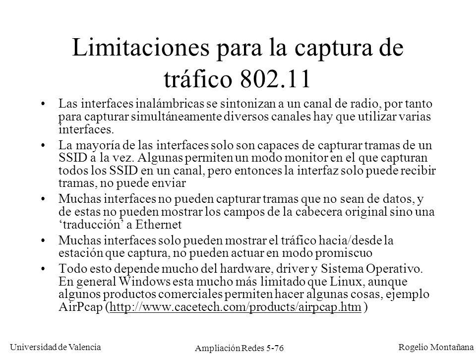Limitaciones para la captura de tráfico 802.11