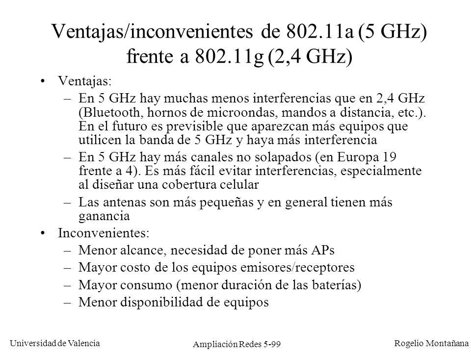 Ventajas/inconvenientes de 802.11a (5 GHz) frente a 802.11g (2,4 GHz)