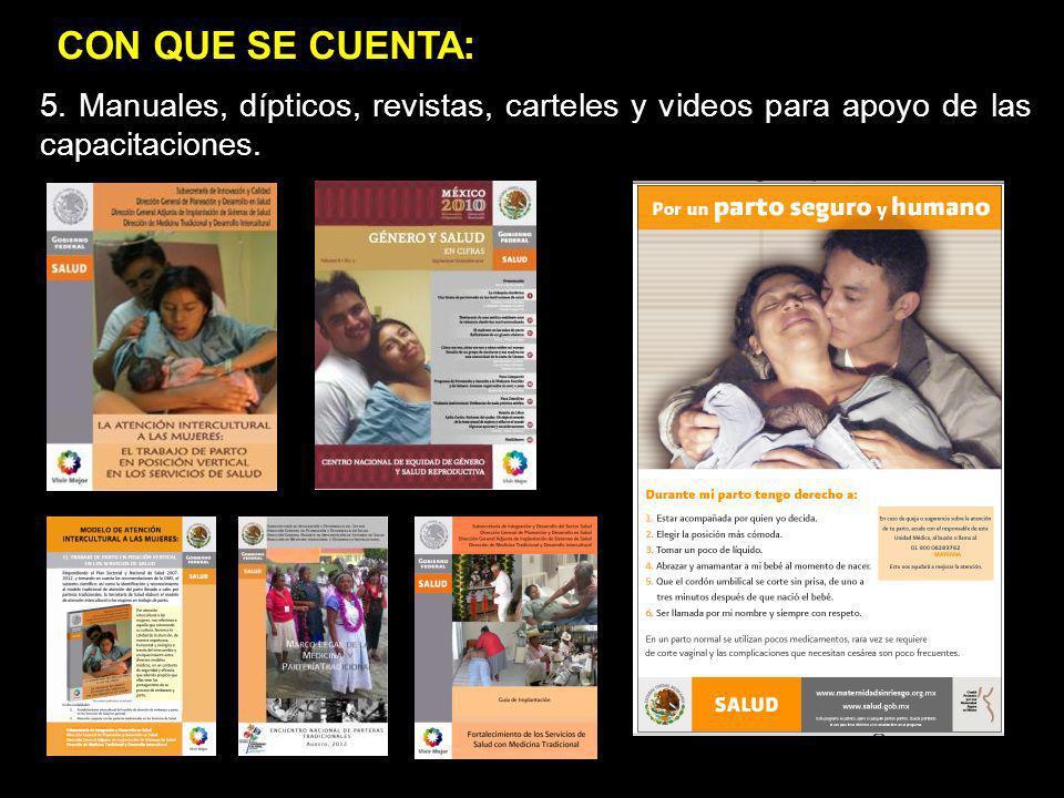 jgj popop. 5. Manuales, dípticos, revistas, carteles y videos para apoyo de las capacitaciones.