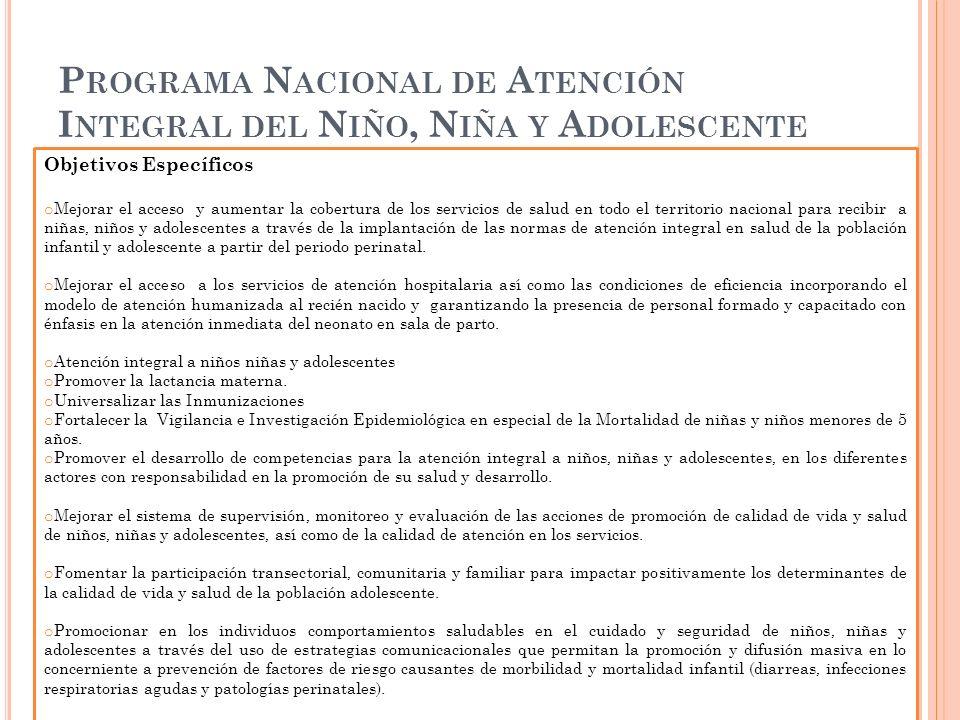 Programa Nacional de Atención Integral del Niño, Niña y Adolescente