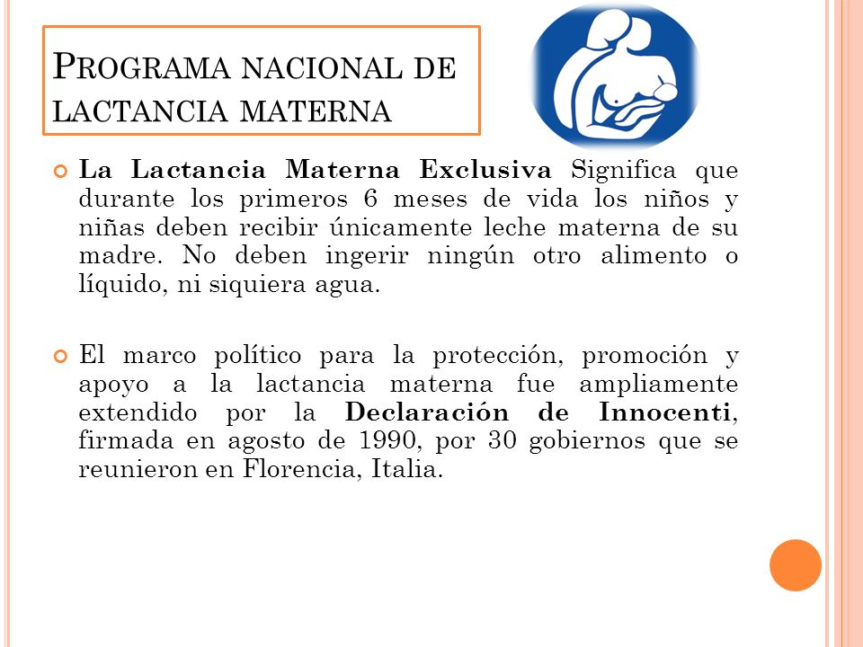 Programa nacional de lactancia materna