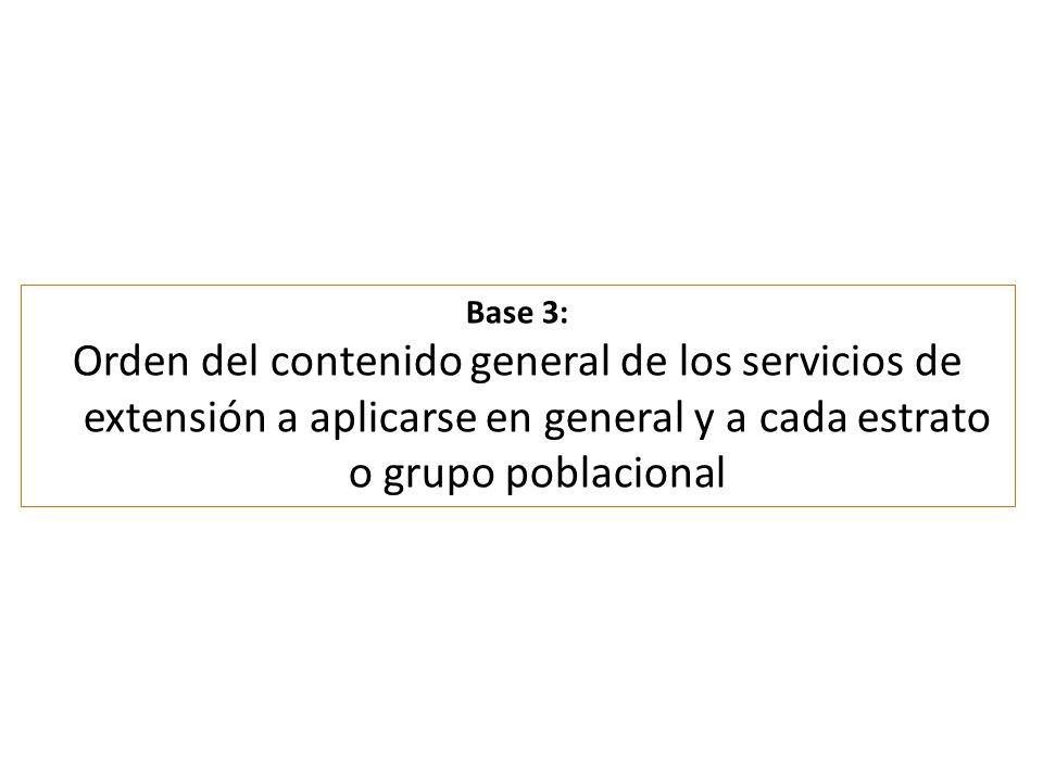 Base 3: Orden del contenido general de los servicios de extensión a aplicarse en general y a cada estrato o grupo poblacional.