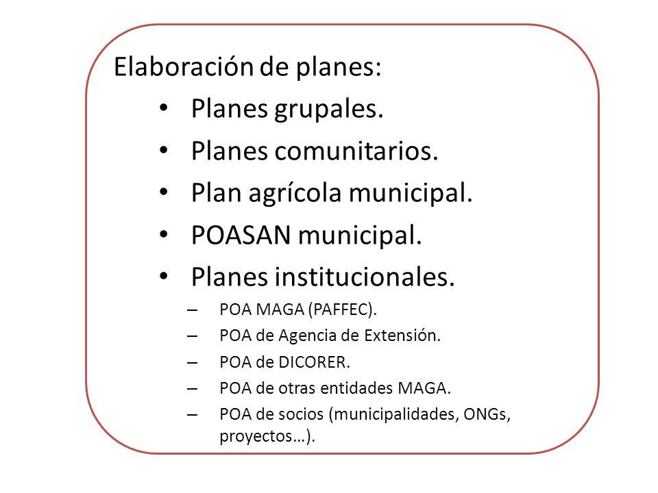 Elaboración de planes: Planes grupales. Planes comunitarios.