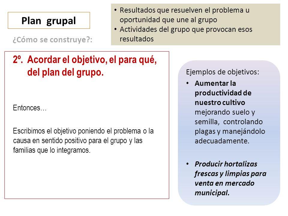 Plan grupal 2º. Acordar el objetivo, el para qué, del plan del grupo.