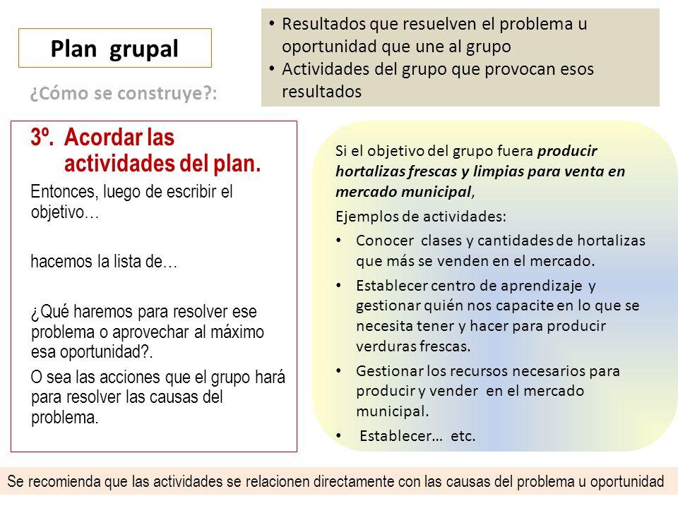 Plan grupal 3º. Acordar las actividades del plan. ¿Cómo se construye :