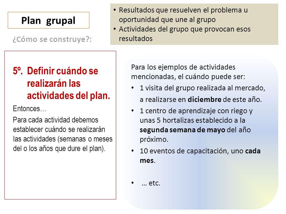 Plan grupal 5º. Definir cuándo se realizarán las actividades del plan.