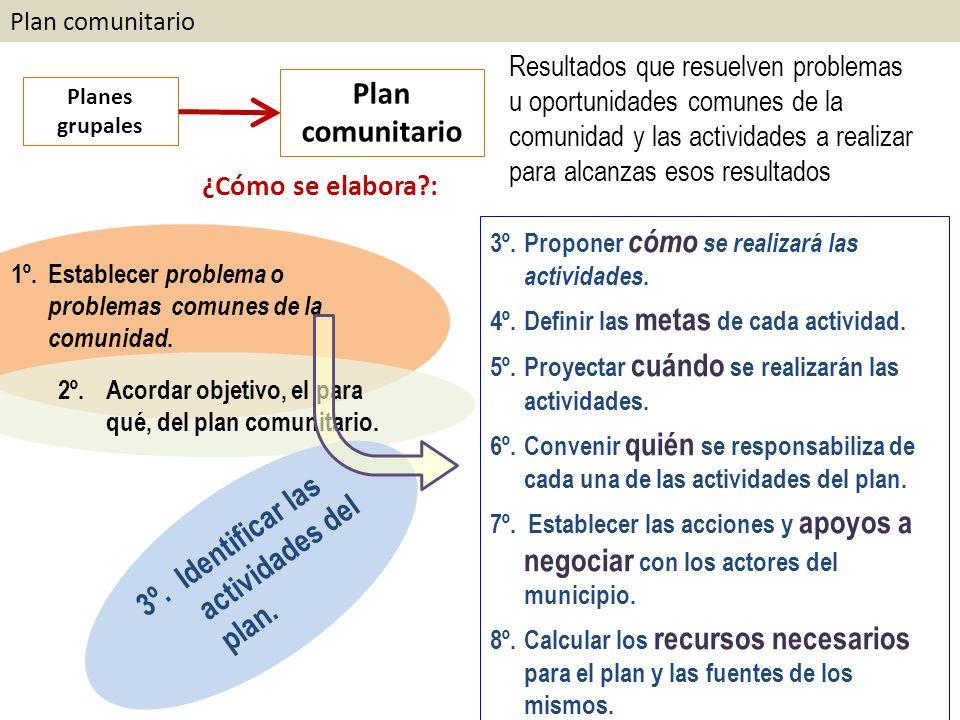 3º. Identificar las actividades del plan.