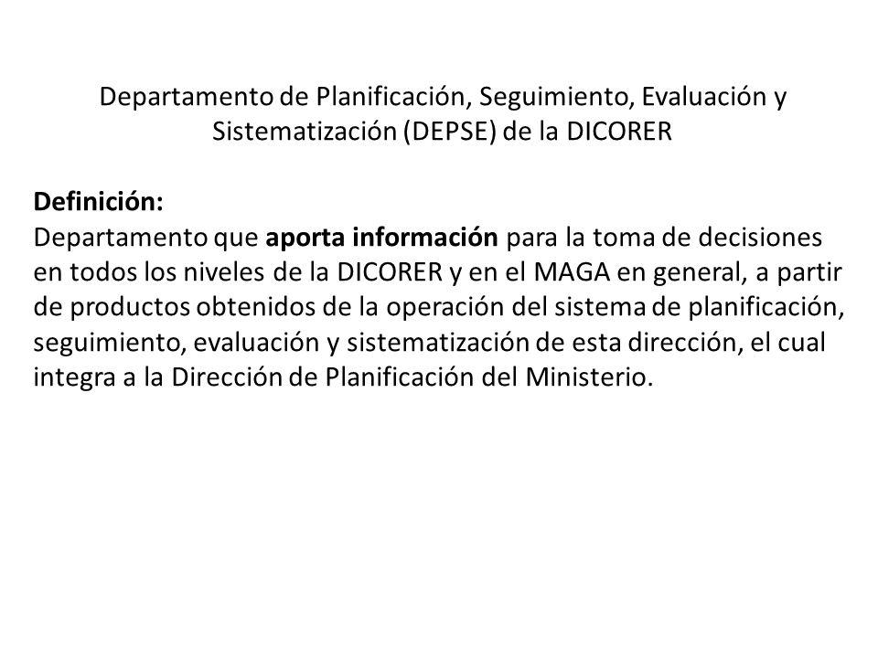 Departamento de Planificación, Seguimiento, Evaluación y Sistematización (DEPSE) de la DICORER