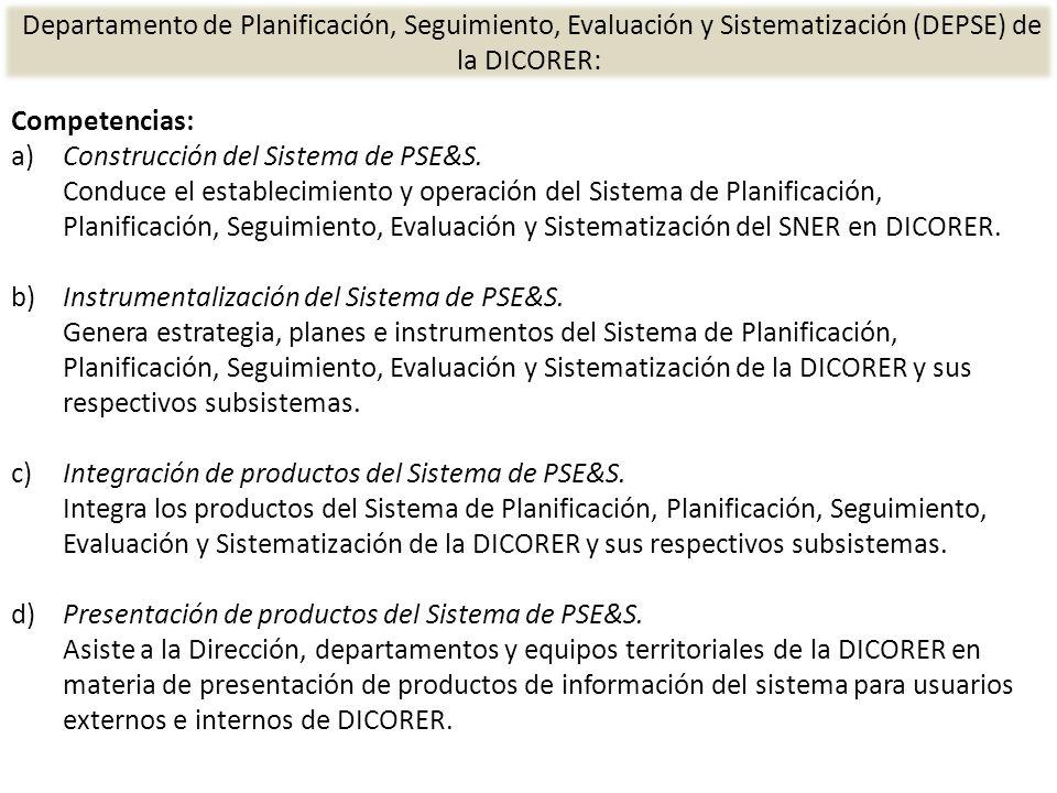 Departamento de Planificación, Seguimiento, Evaluación y Sistematización (DEPSE) de la DICORER: