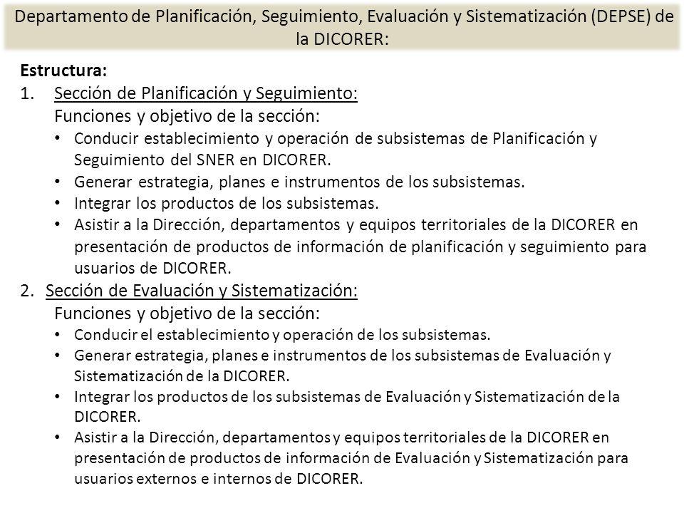 Sección de Planificación y Seguimiento: