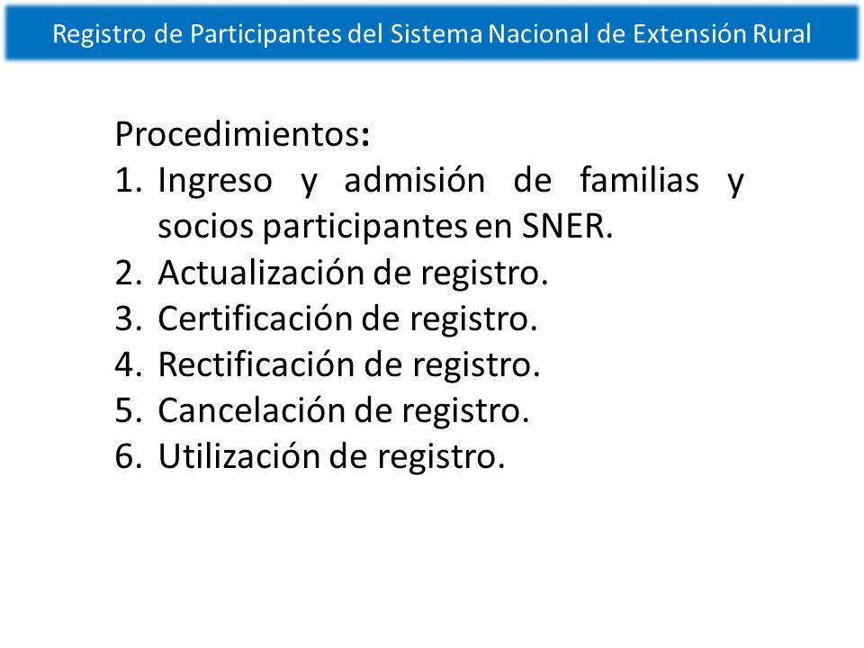 Registro de Participantes del Sistema Nacional de Extensión Rural