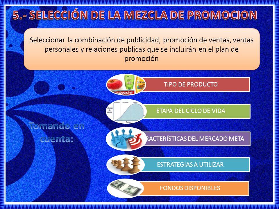5.- SELECCIÓN DE LA MEZCLA DE PROMOCION