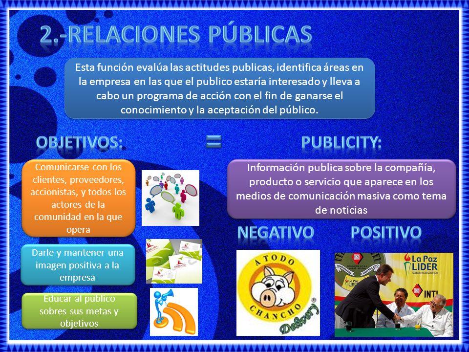 2.-RELACIONES PÚBLICAS Objetivos: publicity: negativo positivo