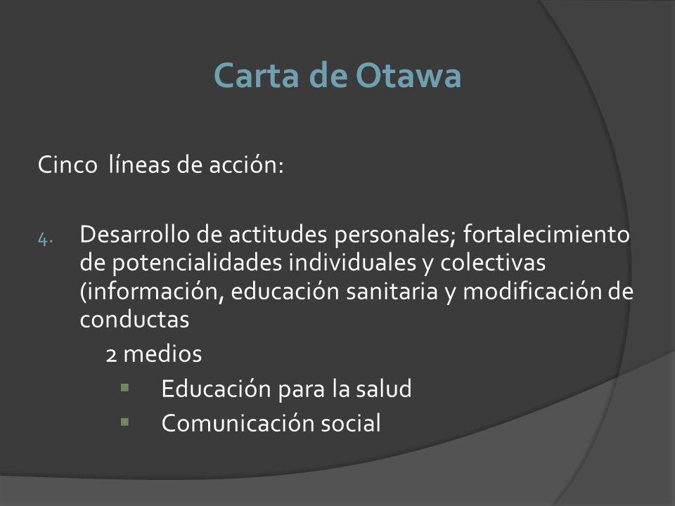 Carta de Otawa Cinco líneas de acción: