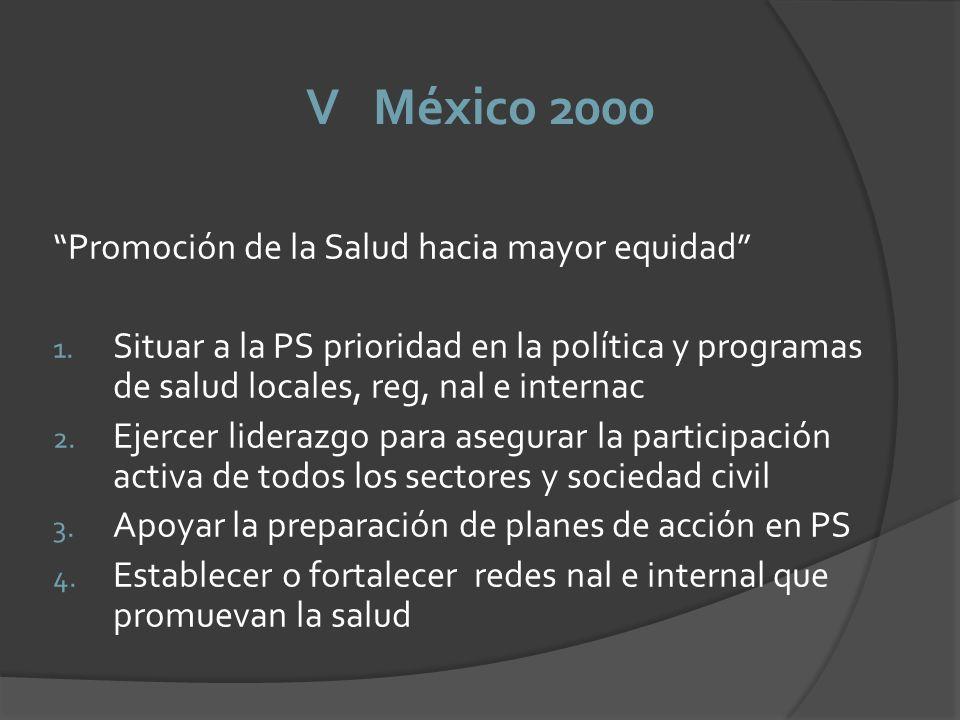 V México 2000 Promoción de la Salud hacia mayor equidad