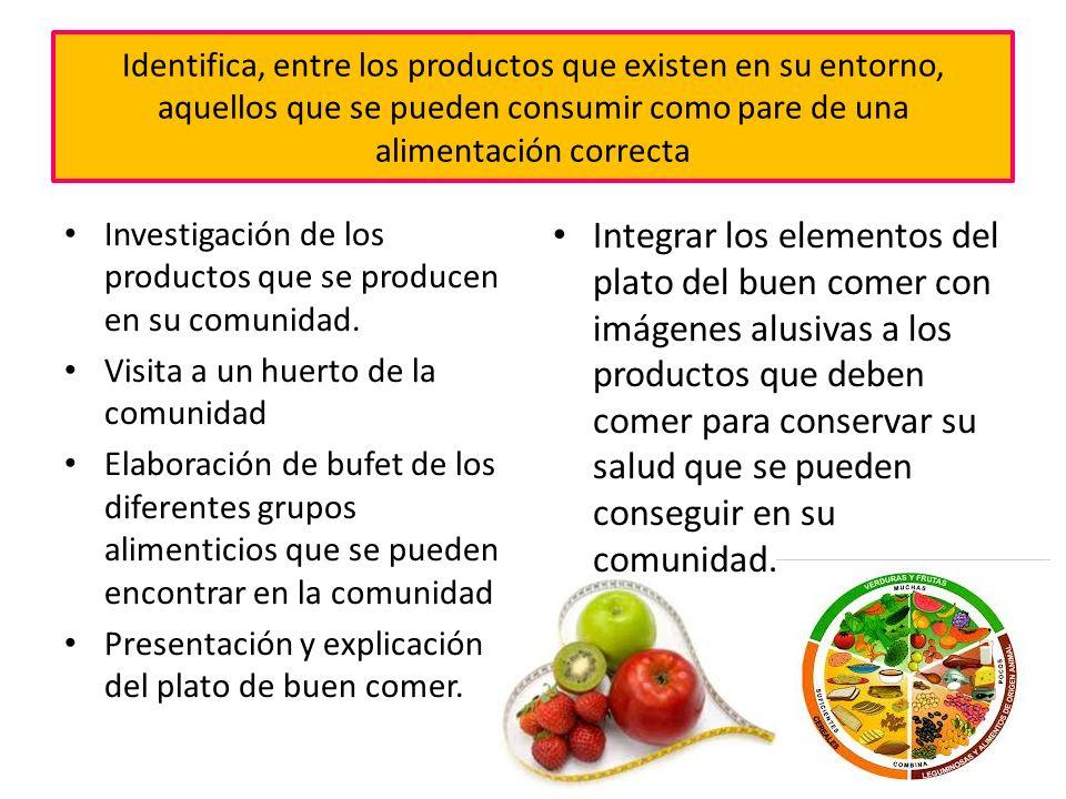 Identifica, entre los productos que existen en su entorno, aquellos que se pueden consumir como pare de una alimentación correcta